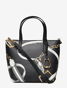 Faux-Leather Crossbody Tote - BLACK SIG BELTING