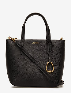 Faux-Leather Crossbody Tote - BLACK/TAUPE