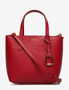Faux-Leather Crossbody Tote - RED/NAVY
