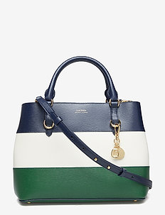 Leather Color-Blocked Satchel - NAVY/VANILLA/GREE