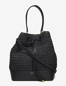Straw Debby Drawstring Bag - BLACK