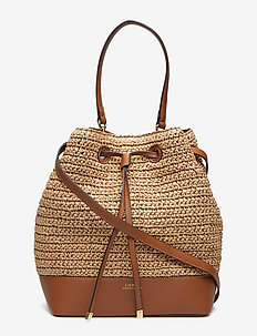 Straw Debby Drawstring Bag - NATURAL