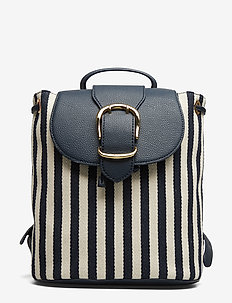 Striped Canvas Backpack - NAVY/IVORY STRIPE
