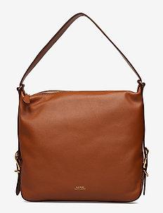 Leather Slouch Hobo Bag - LAUREN TAN