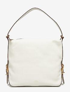 Leather Slouch Hobo Bag - top-handle - vanilla