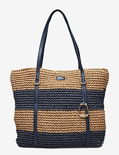 Crocheted Straw Large Tote - NAVY/NATURAL HORI
