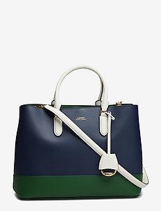 Color-Blocked Marcy Satchel - top-handle - navy/green clover