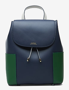 Color-Blocked Leather Backpack - NAVY/GREEN CLOVER