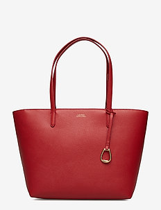 Faux-Leather Tote - RED/NAVY