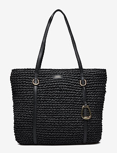 Crochet Straw Large Tote - BLACK
