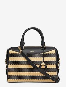 Striped Straw Satchel - BLACK/NATURAL