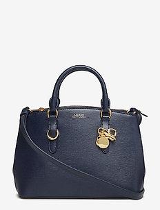 Saffiano Leather Mini Satchel - NAVY