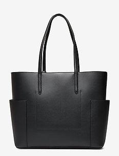 Large Leather Tote - BLACK/PORCINI