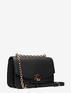 Large Leather Crossbody Bag - BLACK