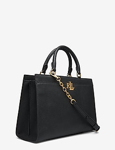 Pebbled Leather Laine Satchel - top handle - black