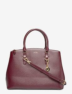 Saffiano Leather Satchel - BORDEAUX