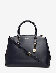Saffiano Leather Satchel - LAUREN NAVY