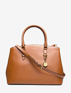 Saffiano Leather Satchel - LAUREN TAN