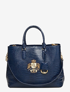 Crest Leather Marcy Satchel - NAVY