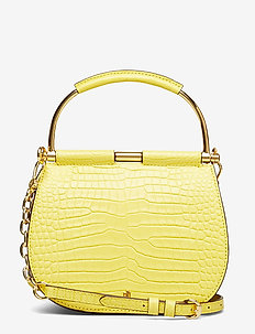 Mini Round Leather Satchel - LEMON SORBET