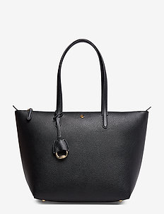 Faux-Leather Small Tote - BLACK