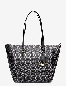 Faux-Leather Small Tote - BLACK MINI CHAIN