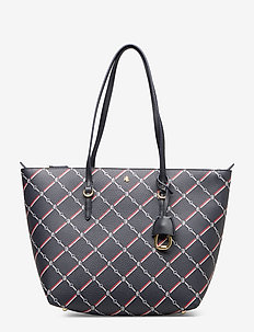 Faux-Leather Small Tote - shopper-laukut - navy equestrian g