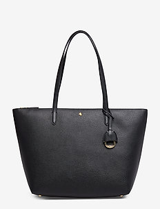 Vegan-Leather Keaton Tote - top handle - black