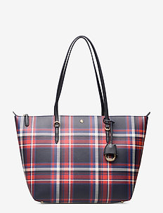 Vegan-Leather Keaton Tote - NAVY BARNES PLAID