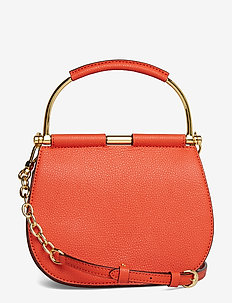 Mini Leather Round Satchel - PUMPKIN