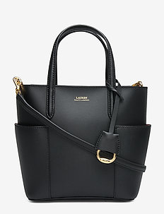 Leather Mini Carlyle Tote - top handle - black/crimson