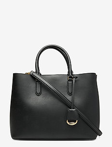 Large Leather Marcy Satchel - BLACK/PORCINI