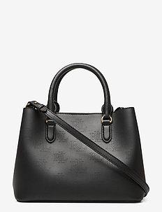 Leather Mini Marcy Satchel - BLACK/PORCINI