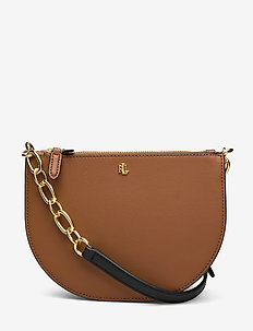 Leather Medium Crossbody - axelremsväskor - lauren tan/vanill