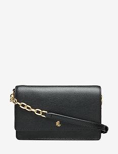 Leather Medium Crossbody Bag - BLACK