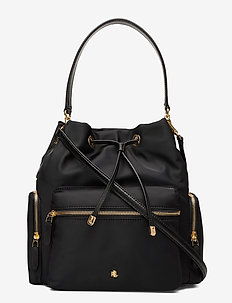 Nylon Debby Drawstring Bag - bucket bags - black