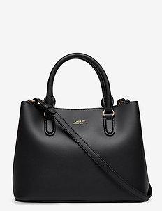 Mini Leather Marcy Satchel - handväskor - black/crimson