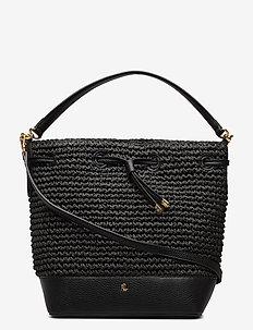 Straw Debby Drawstring Bag - bucket-laukut - black