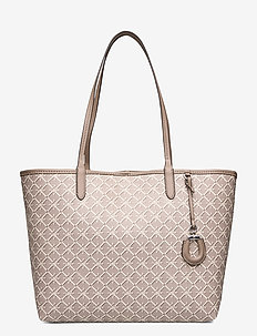 Medium Collins Tote - fashion shoppers - taupe heritage lo