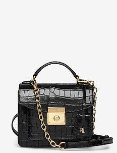 Leather Small Beckett Satchel - top handle tasker - black