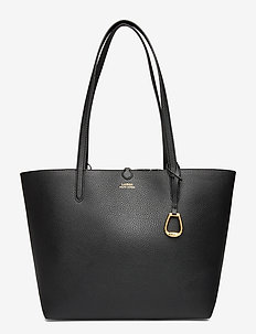 Faux-Leather Reversible Tote - BLACK/BLACK MINI