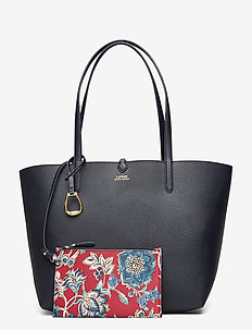 Faux-Leather Reversible Tote - top handle - lauren navy/maupi