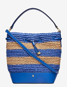 CROCHET STRAW-DEBBY-DRW-MED - bucket bags - natural/masai blu