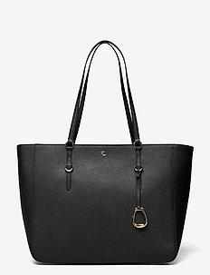 Crosshatch Leather Tote - cabas - black