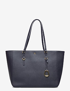 CROSSHATCH LEATHER-TOTE-TTE-MED - fashion shoppers - lauren navy