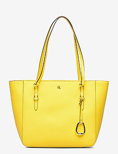 CROSSHATCH LEATHER-SHOPPER-SHP-MED - fashion shoppers - canary yellow