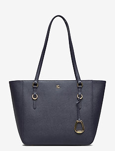 CROSSHATCH LEATHER-SHOPPER-SHP-MED - fashion shoppers - lauren navy