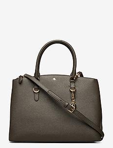 Leather Double-Zip Satchel - top handle tasker - deep olive