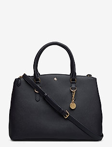 Leather Double-Zip Satchel - handbags - lauren navy
