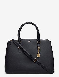 Leather Double-Zip Satchel - top handle tasker - lauren navy
